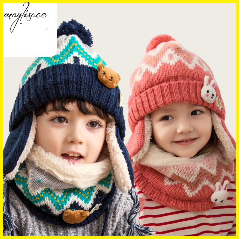 Maylisacc Baby 1-12 Years Old Children Autumn And Winter Snood Hat&Scarf Set  Winter Hat Suit Boys And Girls Beanie And Snood