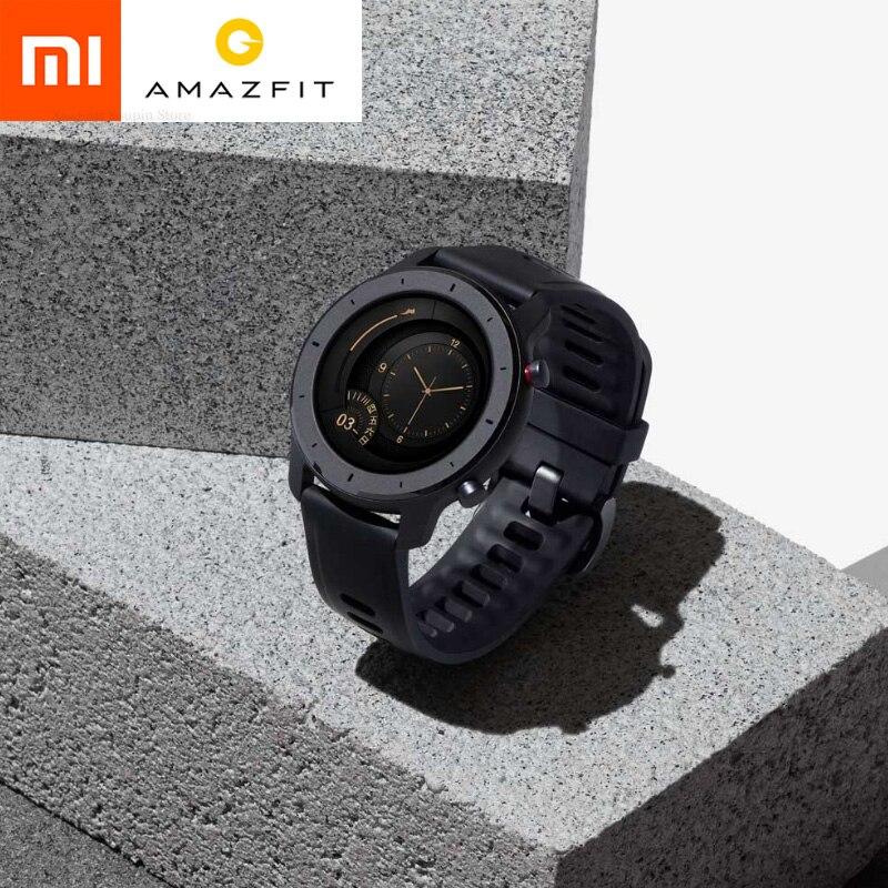 Version mondiale Amazfit GTR 47mm Smartwatch 5ATM étanche Smartwatch autonomie 24 jours GPS contrôle de musique avec bracelet en cuir