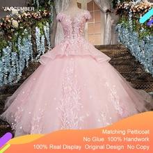 LS00196 Zipper Back Floor Length Cap Sleeves Ball Gown 3D Flowers Luxury Pink Evening Dresses 2020 rReal Photos
