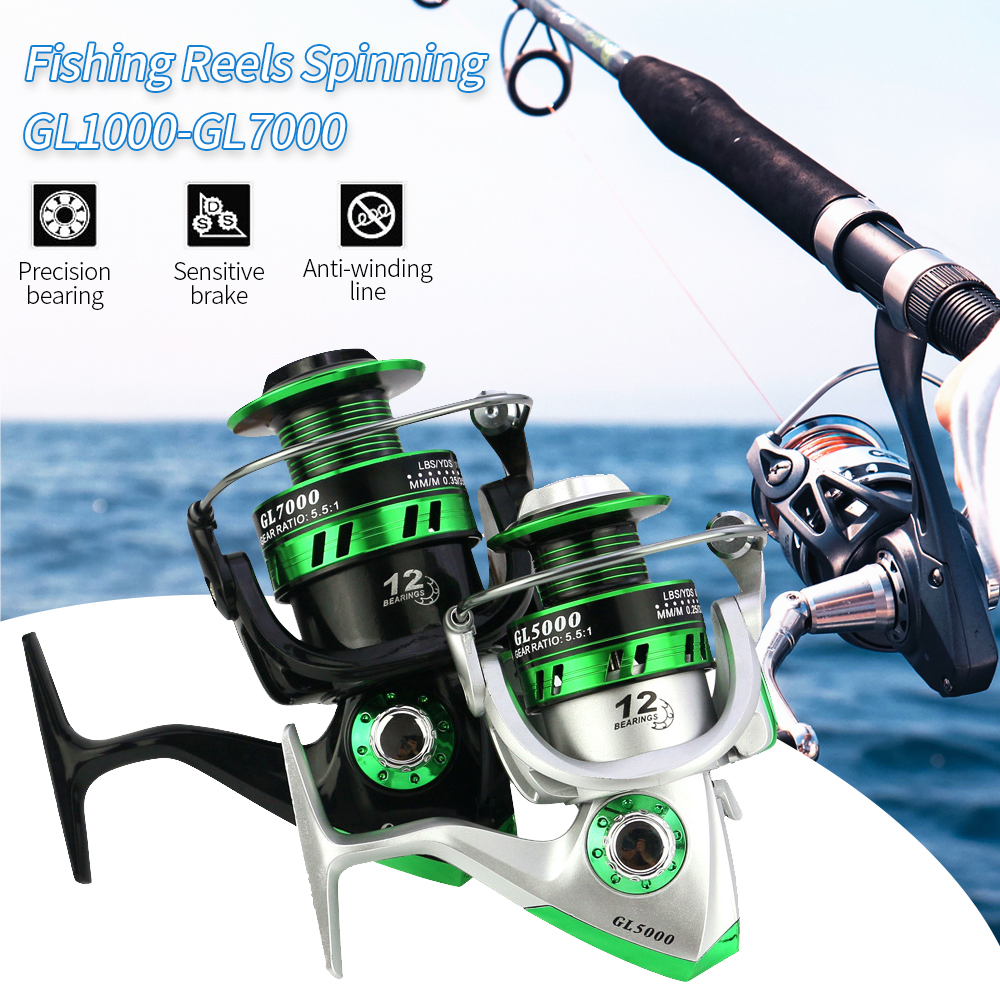 3BB Ball Bearing Fishing Spinning Reels Gear Spool Fish Reel High Speed 5.2:1
