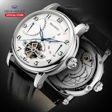 シーガル男性の自動機械式ビジネス腕時計カレンダー 50 メートル防水レザー中空視点フライ腕時計 819.316