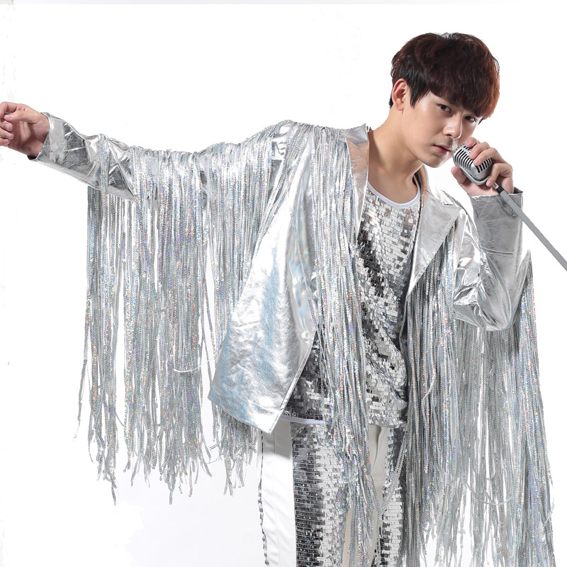 Stage Costumes For Singers Mens Silver Tassels Jacket Rock Punk DJ Outfits Nightclub Male Leather Performance Costume BL2191