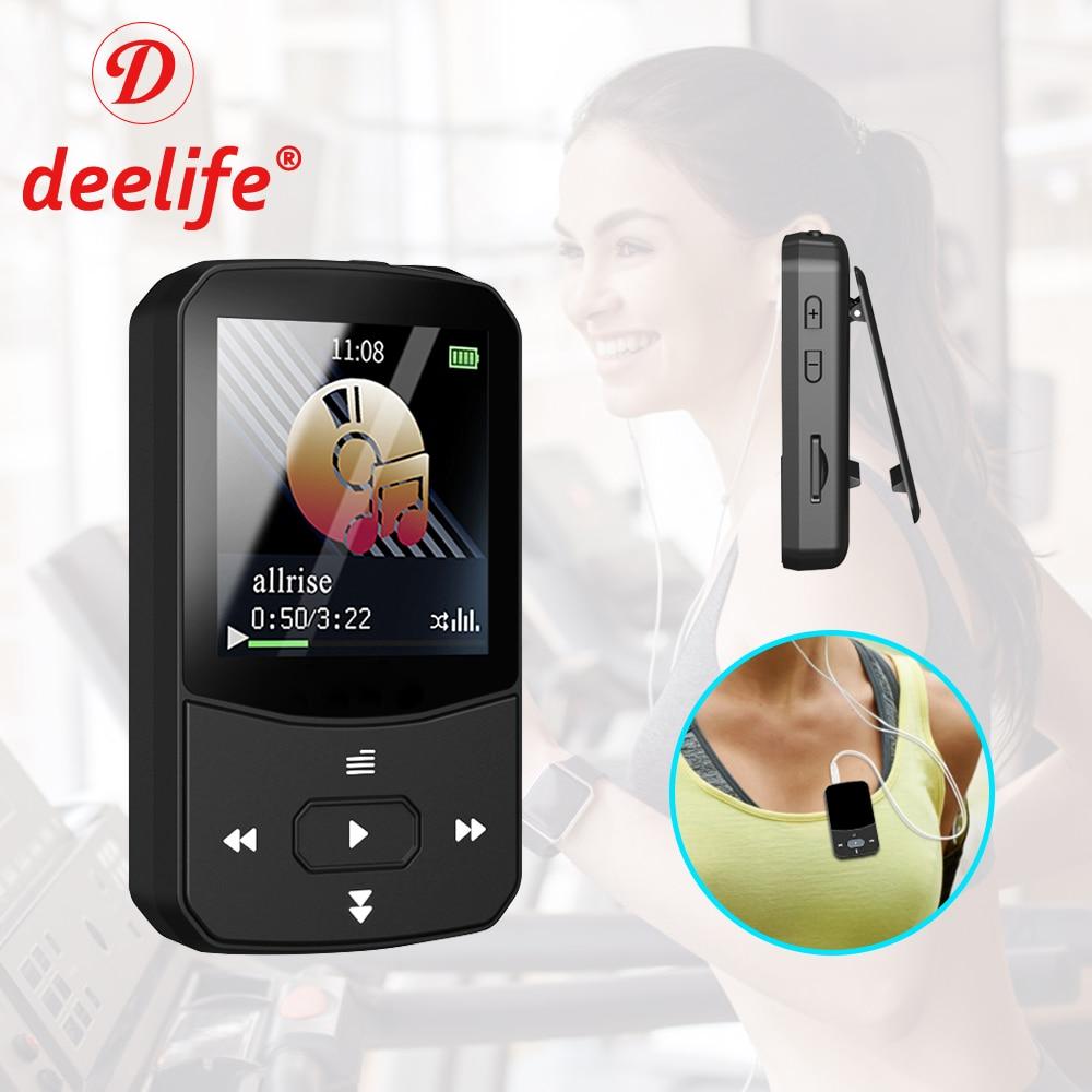 Deelife Mini pince lecteur MP3 Bluetooth avec Radio FM musique jouer pour lenregistrement en cours dexécution E-Book vidéo Portable Sport MP 3 lecteur
