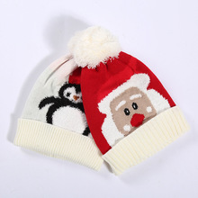 Christmas decorations 1 to 3 years old children wool warm Santa Claus penguin gift hat christmas for home