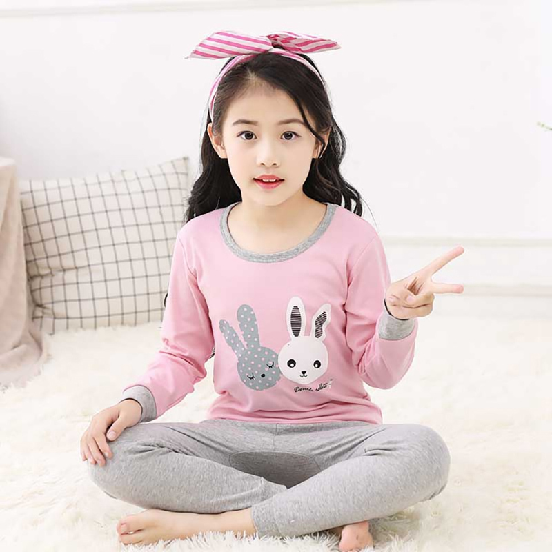 Autumn   Pajamas   Baby Kids Girls Boys Cartoon Print Sleepwear   Set   Long Sleeve Blouse Tops+Pants   Pajamas     Set