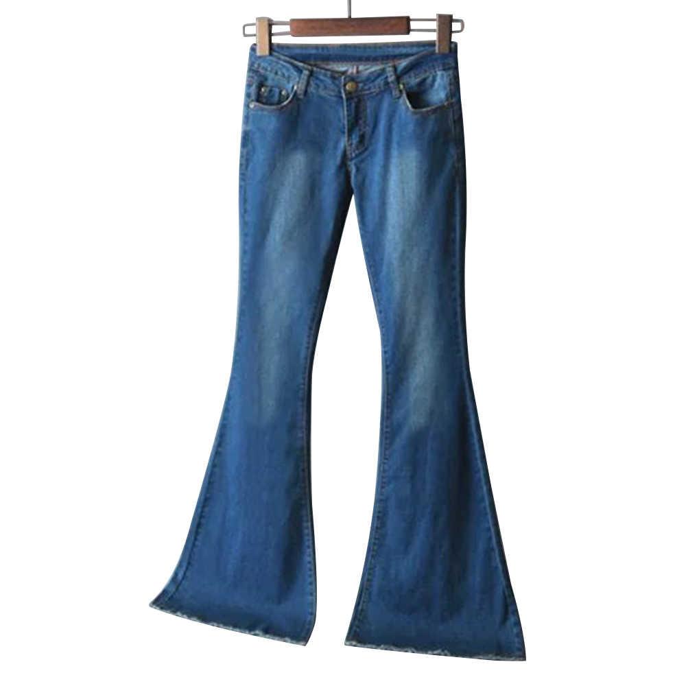 2019 Nieuwe Lente Vrouwen Blue Mid Taille Flare Jeans Bell Bottoms Jeans Dames Sexy Stretching Jeans Mode Wijde Pijpen Denim broek