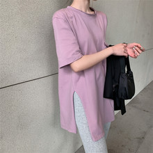 ZCWXM Solid Multi Colors New 2020 Women Summer T-shirt Casual Loose Bottoming Fashionable Minimalist Split Midi Tops 0508(China)