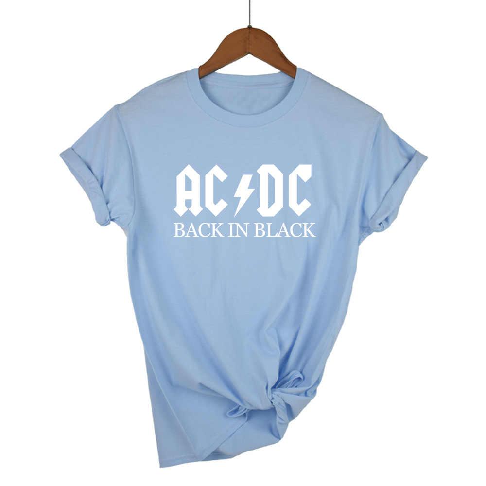 AC/DC موسيقى الروك تي شيرت على طراز هاراجوكو المرأة ACDC الأسود إلكتروني الرسم المطبوعة بلايز الهيب هوب الراب الموسيقى قصيرة الأكمام قمم المحملة قميص