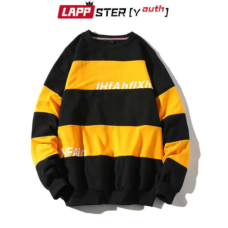 Lappster men funny patchwork 하라주쿠 체크 무늬 후드 티 스웨터 2019 mens japanese streetwear 카키 힙합 스웨터 후드