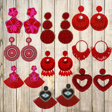 Fashion Red Acrylic Beads Drop Earrings For Women Handmade Beaded Boho Geometric Tassel Jewelry Exaggerated Statement Earrings smart flip case for huawei p30 pro lite honor 9x 9xpro mirror cases for huawei y6 y7 y8 y9 honor 20i lite p smart 2019 plus case