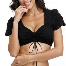Bras For Womens Sexy Elegant Dirndl Blouse Black Lace Oktoberfest Tops Lingerie Undrwear