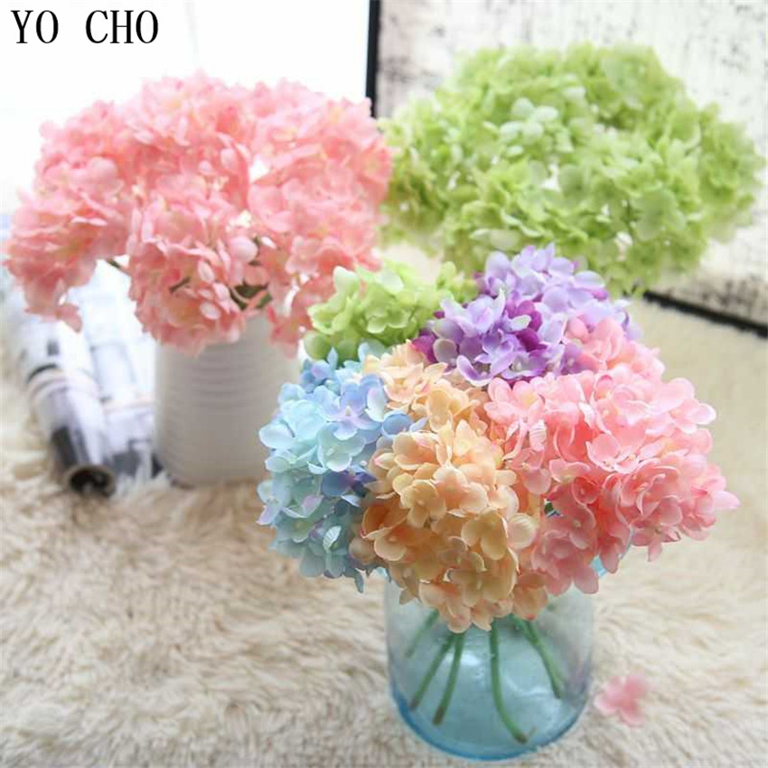 YO CHO DIY Bouquet Silk Hydrangea Artificial Flower Small Bunch Wedding Bridesmaid Fake Hydrangea Wedding Wall Home Party Decor