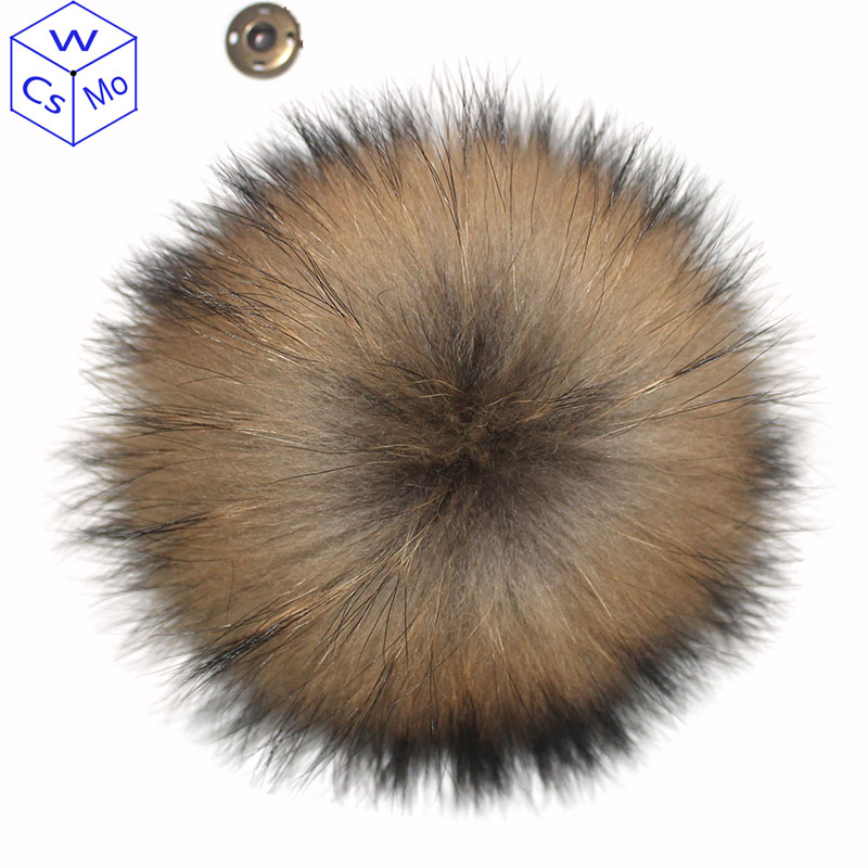 DIY 12 13cm Raccoon Fur Pompoms For Winter Knitted Hats Real Natural Fur Pom Pom For Kids Children Hat Caps