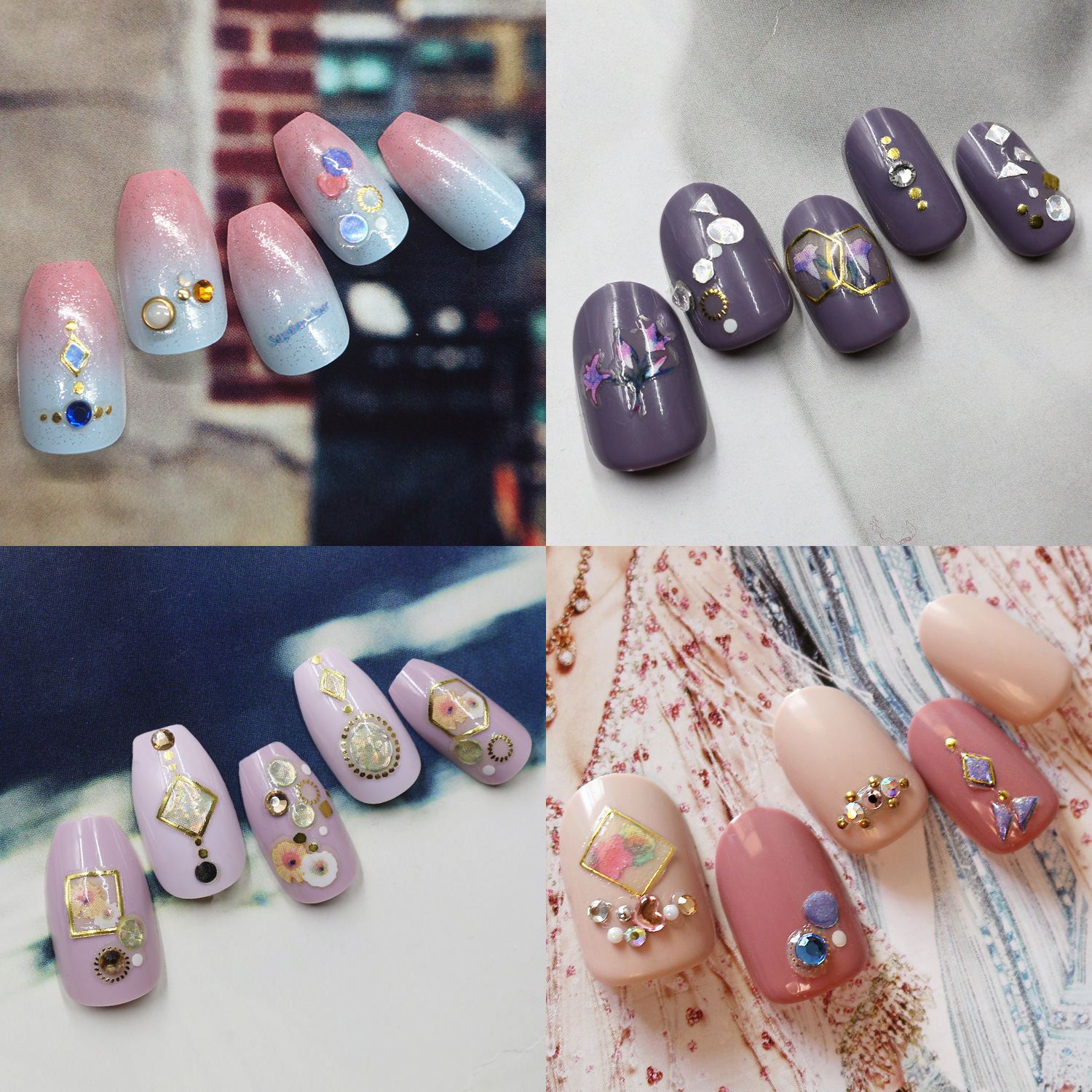 Joyme Nail Sticker Collection Gel 3D Manicure Flower Stickers Japan Self-Adhesive Waterproof