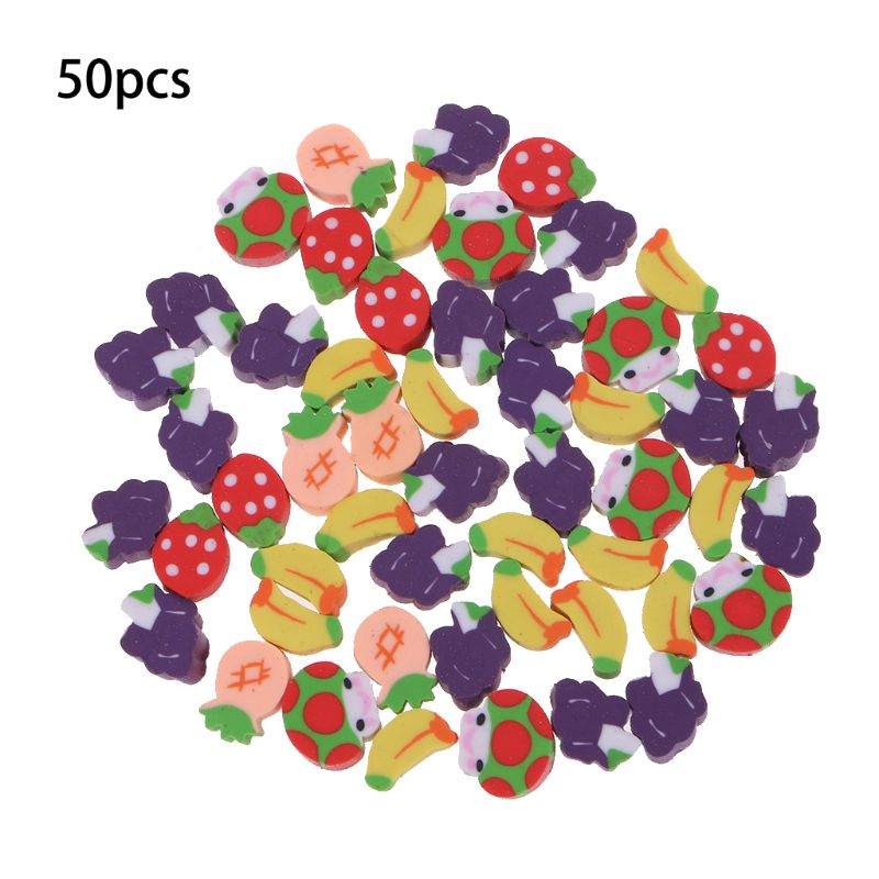 50Pcs Cute Mini Fruit Rubber Pencil Eraser Children Creative Stationery Gift Toy M5TB