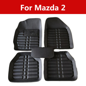 Leather Car Floor Mats Carpet Mats Waterproof Anti-Dirty Floor Mats For Mazda 2 5pc Front & Rear Rubber Floor Mats image