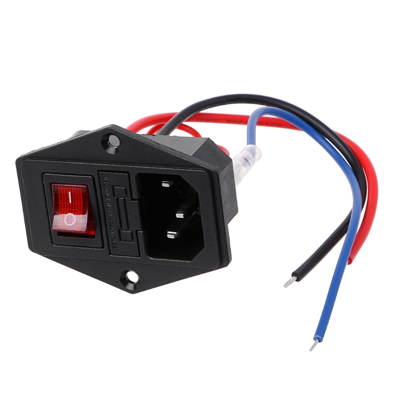 3D Printer U-type Plug Power Supply Switch Adapter Socket with Switch and Fuse