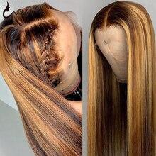 Uwigs 28 30 pulgadas #4/27 destacar de pelucas de cabello humano 13x4 Ombre hueso recto peluca con malla frontal pelucas de cabello humano para las mujeres negras