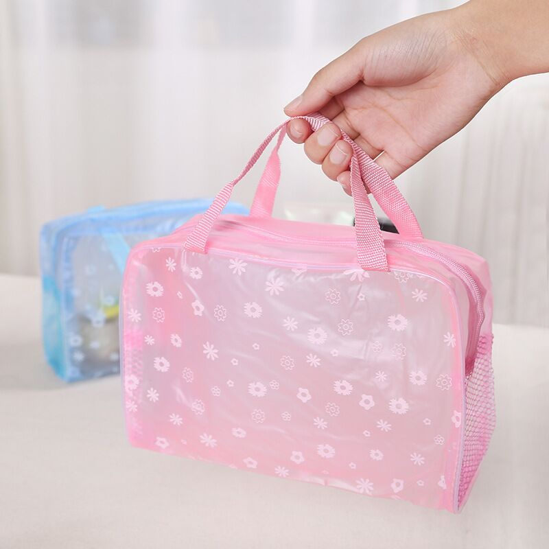 Waterproof PVC Portable Multifunction Makeup Cosmetic Container Storage Box Make Up Organizer Holder Zipper Portable Travel