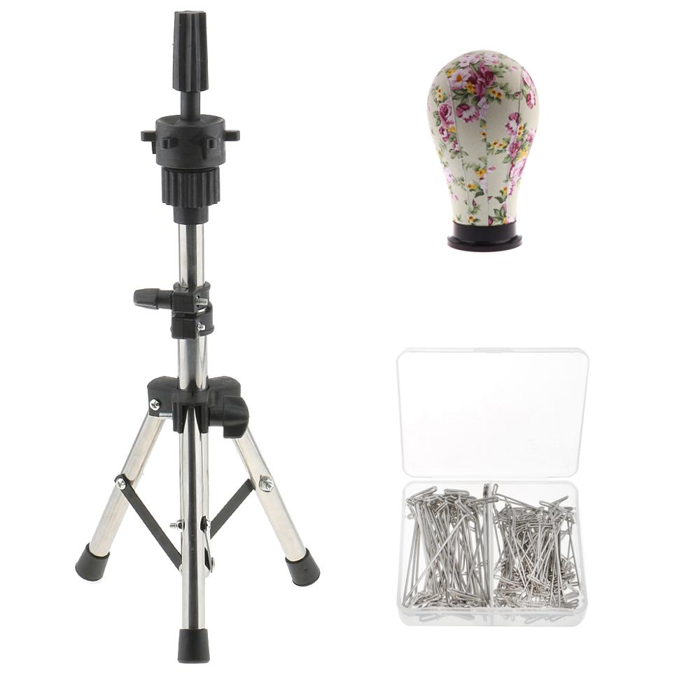 23 Inch Canvas Mannequin Head with Tripod Stand + 150 T Pins for Wig Making <font><b>Hat</b></font> Display, Complete Wig Making Kit and Supplies image