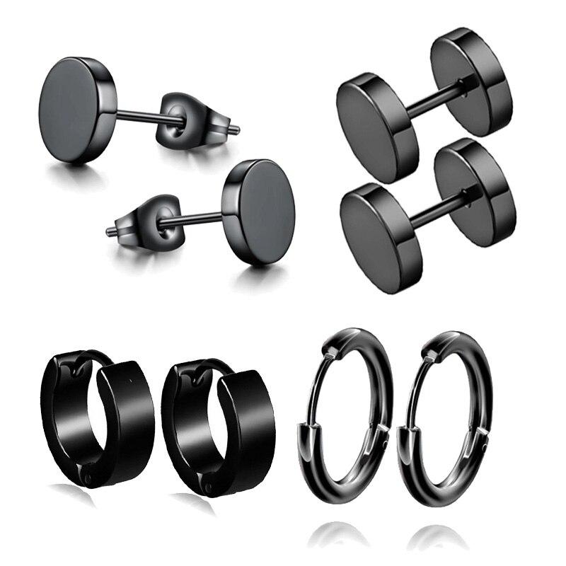 Серьги-гвоздики из нержавеющей стали для мужчин и женщин, ювелирные украшения для пирсинга черного цвета в стиле панк, 4 пары, 1 комплект