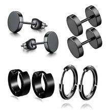 1 conjunto de 4 pares diferentes tipos forma unissex cor preta aço inoxidável piercing brinco para mulheres punk gothic barbell brinco