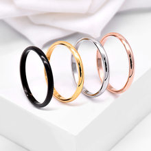 Simple Couple Ring Fine Titanium Steel Gold Color Rings Classic Rose Gold Rings For Female Stainless Steel Ring Popular Jewelry(China)