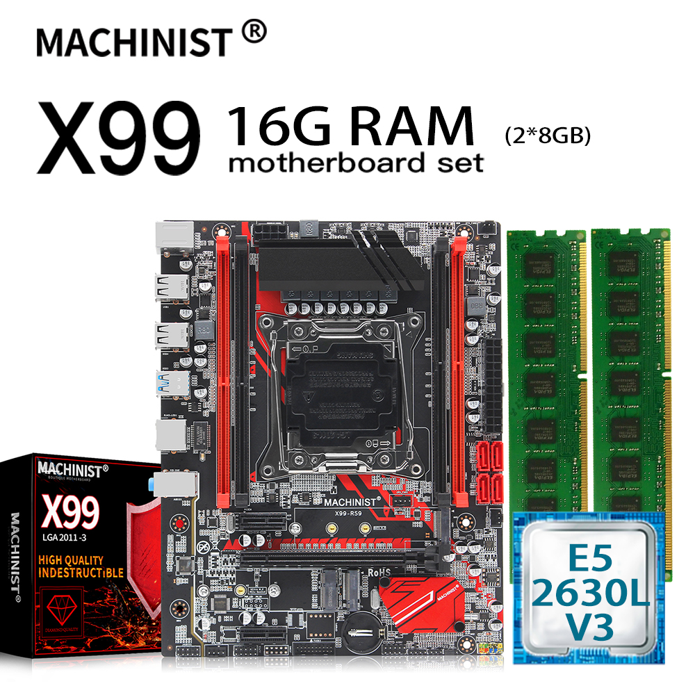 X99 motherboard LGA 2011-3 set kit with xeon E5 2630L V3 processor and 16GB(2*8GB) DDR4 RAM X99-RS9 motherboards 1