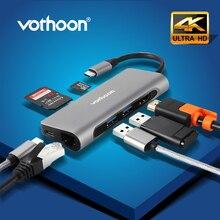 Vothoon USB Typ C HUB zu USB 3.0 HDMI USB HUB für MacBook Pro Air Card Reader RJ45 Ethernet USB Splitter 7 Port Typ C HUB