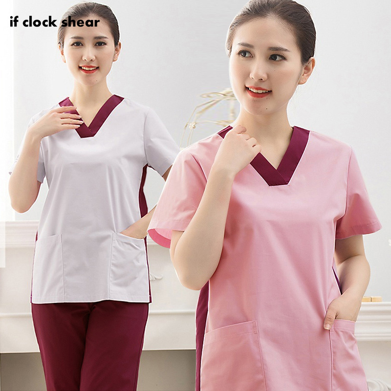 IF Beauty Salon Workwear Pharmacist Uniform Short-sleeved Medical Uniform Nursing Shirts Dental Clinic Clothes Tops/Suits Summer