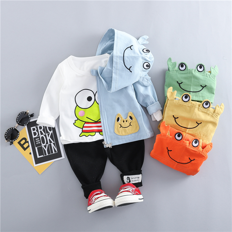 HYLKIDHUOSE Spring Baby Girls Boys Clothing Sets Toddler Infant Clothes Suits Cartoon Coats T Shirt Pants Children Costume