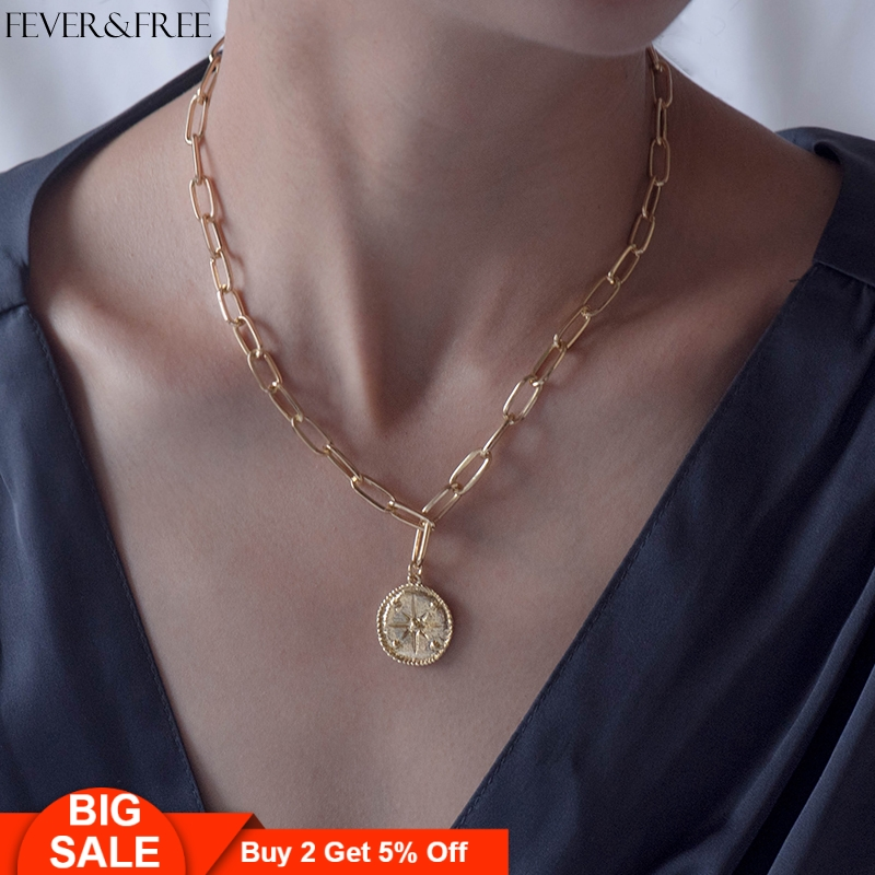 Fever&Free Minimalism Jewelry Simple Coin Long Chain Gold Necklace Delicate Carved Rune Pendant Necklaces For Female Choker Gift