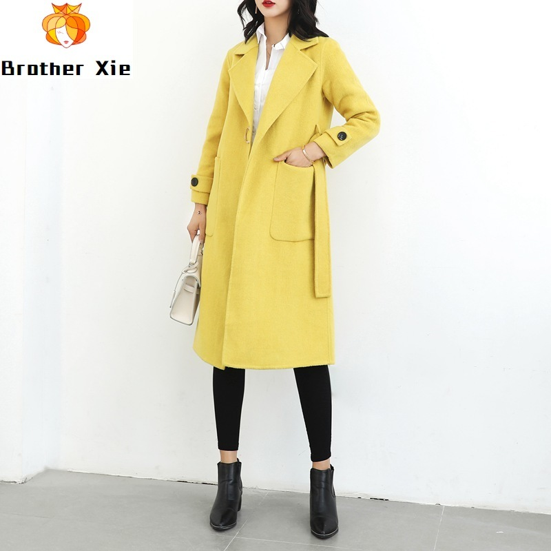 New double-sided cashmere overcoat 2020 spring coat for women winter warm coat button lady wool coat