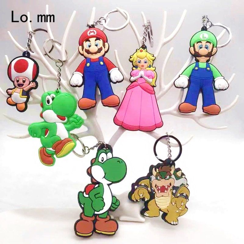 Game Super Mario Bros Pvc Key Chain Luigi Mario Peach Princess Bowser Cartoon Figures Keyring Man Kid Llaveros Hombre Keychain