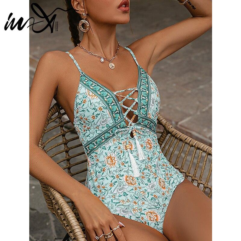 In-X Floral print one piece swimsuit women Bandage tassel swimwear female Backless monokini Vintage bathing suit bodysuit 2021