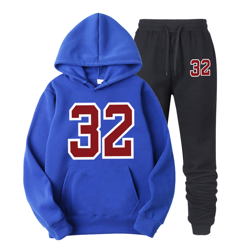 Red 23 Print Sets Tracksuit Men Autumn Hooded Sweatshirt Drawstring Outfit Sportswear Male Suit Pullover Two Piece Set Casual