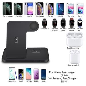 Image 2 - 15W Qi Drahtlose Ladestation für iPhone 12 11 XS XR X 8 3 in 1 Schnelle Lade Dock station Für Apple Uhr iwatch 6 SE 5 4 3 2