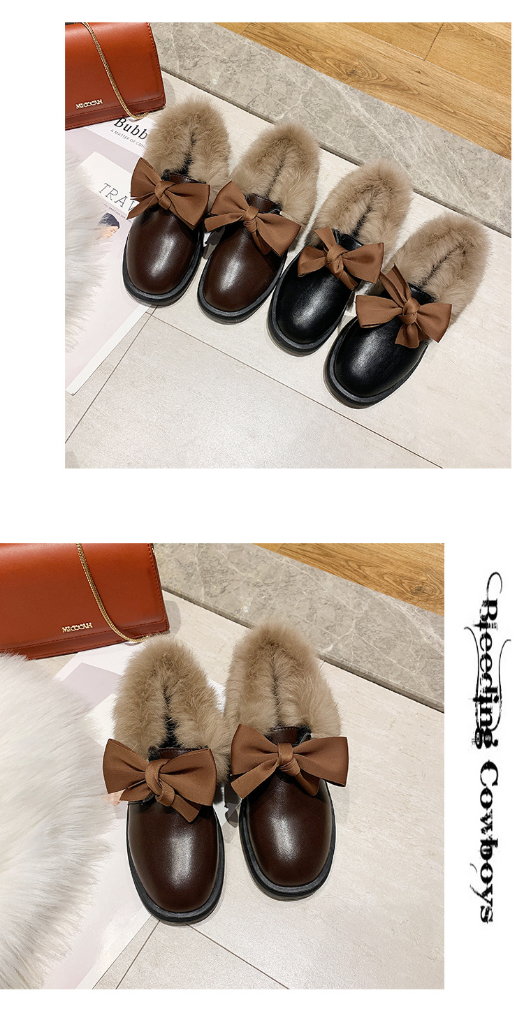 2019 winter long plush warm fur shoes bow tied decorate slip-on leather bullock shoes woman anti-skid chunky leisure espadrilles 54