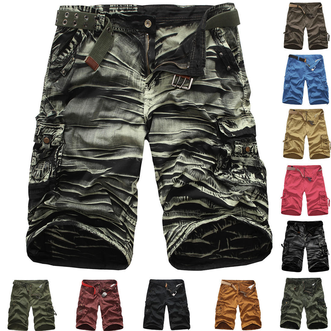 2019 MEN'S Wear Bib Overall Summer Hot Selling Camouflage Middle Pants Europe And America Large Size Loose-Fit Shorts G420