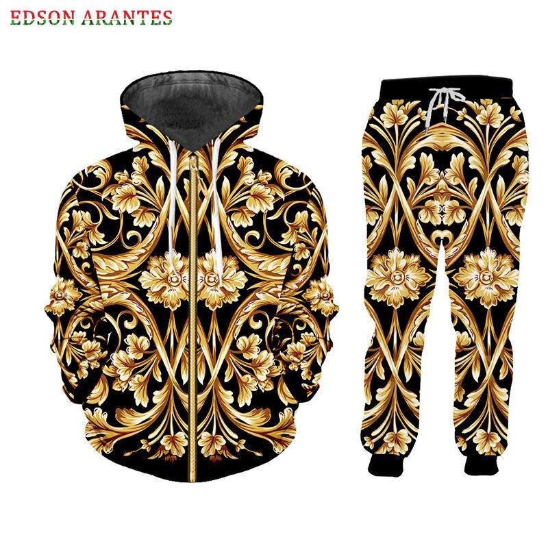 Baroque 3D Men's Sets Palace Floral Print Zipper Jackets+Jogger Pants Sets Unisex Hip Hop Hoodie T Shirt Tank Sets Custom S-7XL