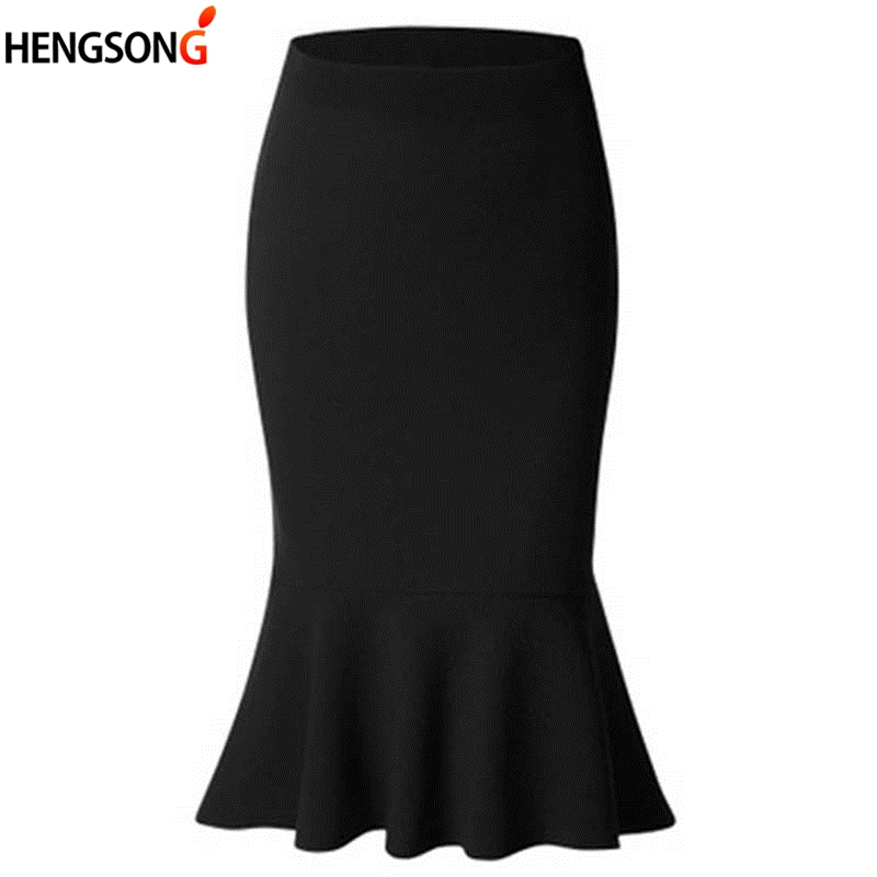 High Waist Mermaid Skirt Summer Fashion Women Solid Color Large Size Knee Length Trumpet Skirts Lady Office Wear Skirt