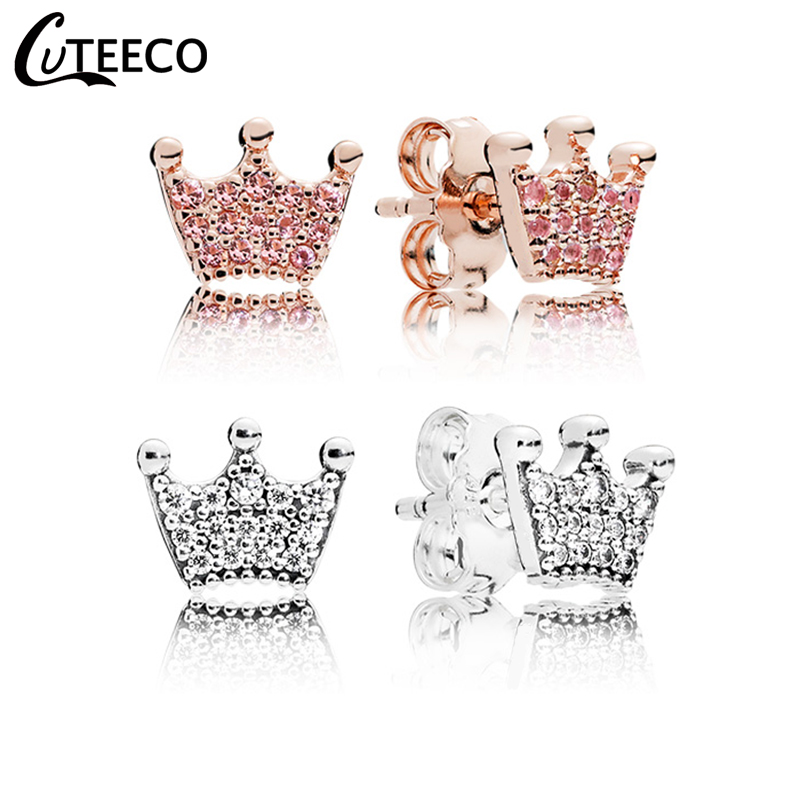 CUTEECO 2019 Rose Gold Pink Zircon Magic Crown Stud Earrings Simple Temperament Brand Earrings For Women Wedding Jewelry Gift