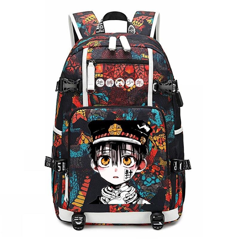 New Toilet-bound Jibaku Shounen Hanako-kun Backpack Laptop Bag  Men Travel Bags USB Oxford Backpack Schoolbag
