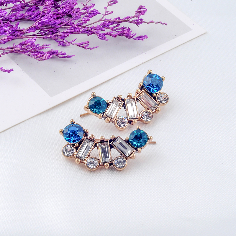 Abstract Crescent Colorful Crystal Geometric Glass Joint Stud Earrings For Women Gifts Fashion Jewelry Wholesale