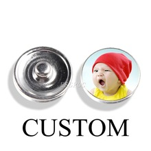 Jewelry Snap-Buttons Charm Photo Custom Bracelet Glass for Handmade Craft-Supplies 1pcs