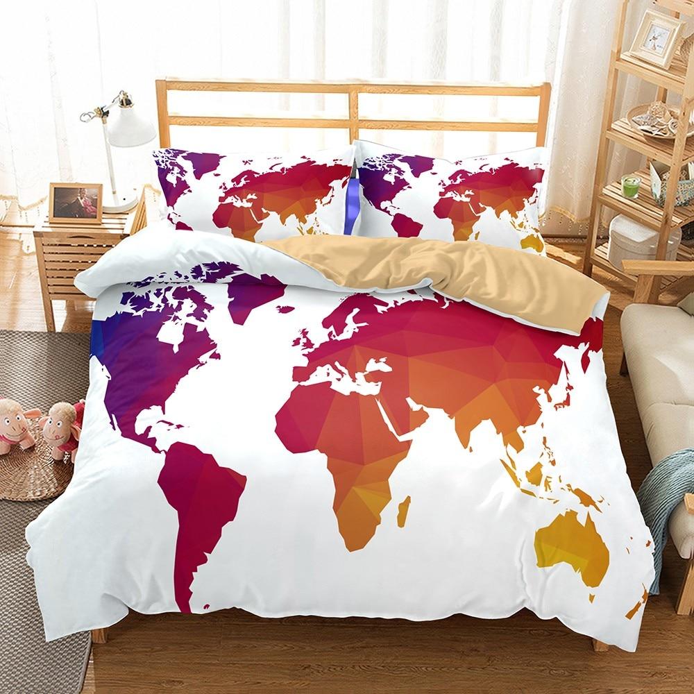 nordic simple world map bedding set single double duvet cover set teens men bed comforter set bedroom decor geometric bedspreads