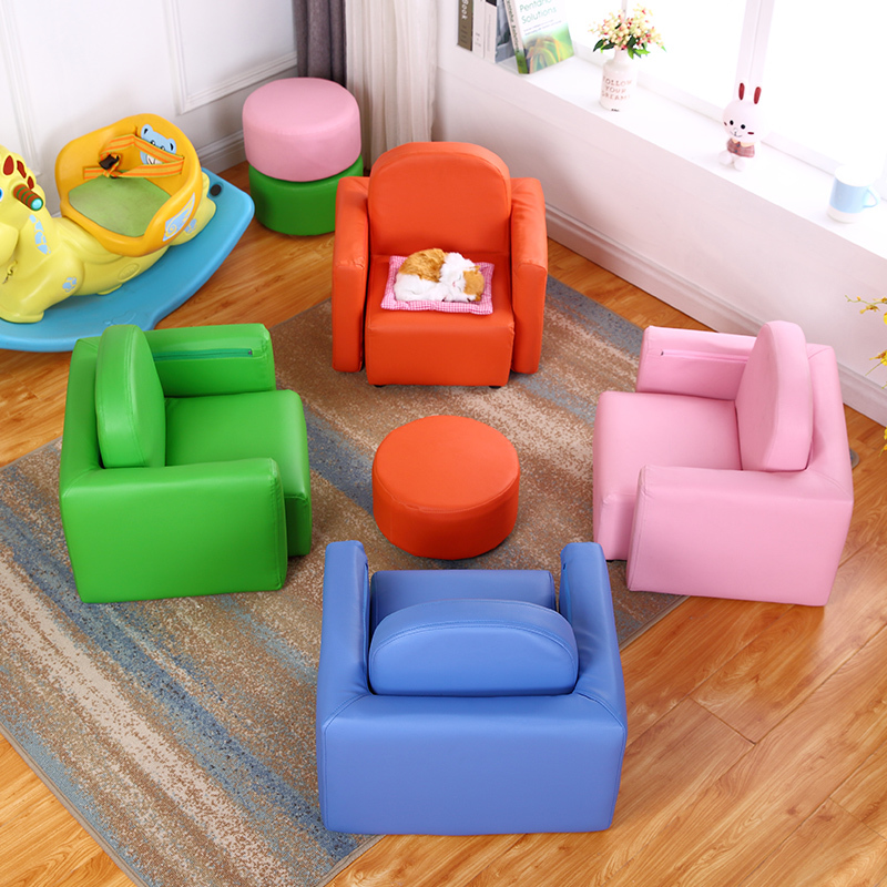Cartoon Multifunctional Leather Art With Stool Chair For Kids Baby One Seat Sofa Bed Gift Children's Sofa Mini Sofa Chair