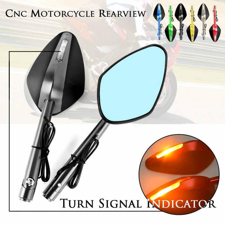 Motor CNC Belakang Cermin LED Turn Sinyal Lampu Handle Bar Akhir Kaca Sisi Cermin untuk Yamaha MT10 MT07 MT09 MT03 MT25