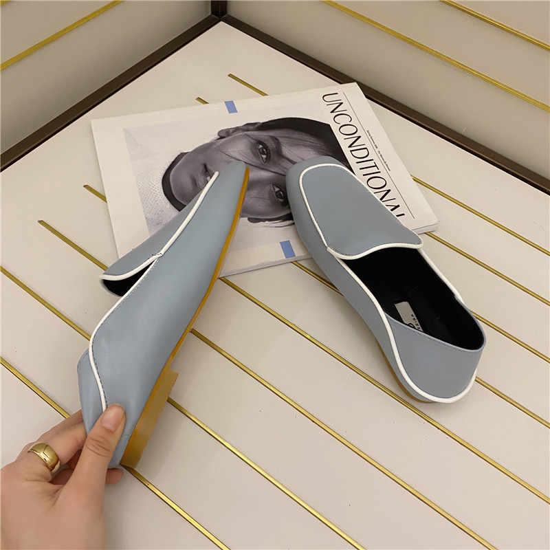 MIULAMIULA marka tasarımcısı 2020 kore yeni moda lüks kare ayak yumuşak alt deri daireler ayakkabı kadın loafer'lar üzerinde kayma rahat