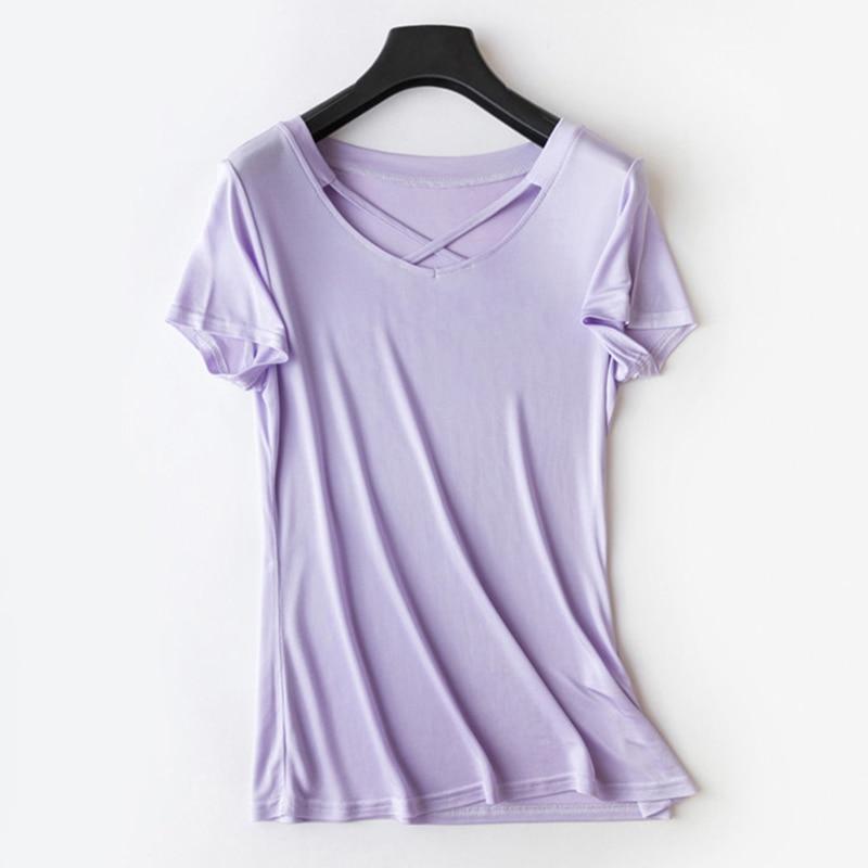 Woman Tshirt Tops 100% Natural Silk Tee Shirt Femme T-shirts Women's Criss Cross Short Sleeve V Neck Summer Casual M-XL